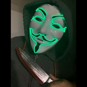 Anonymous LED Green Mask Light Up Scary Bonfire Night Halloween Costume Purge