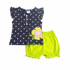 Little Girls Clothing Sets Sleeveless Blue Button Top& Bloomers Shorts 3-4TParty