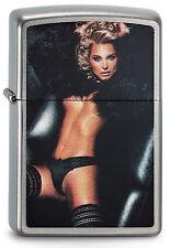 ZIPPO Feuerzeug WOMAN IN FUR Brushed Chrome Sexy Girl NEU OVP Sammlerstück!!