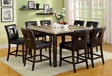 Square Marble Top Dining Table & 8 Side Chairs 9pc Counter Height Dining Set New