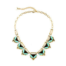 Exquiste Anthropologie Jacobi Drop Mint Green Black Beaded Gold Trim Necklace