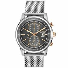 Citizen Eco-Drive Mens CA0336-52H Chronograph Grey Dial Stainless Steel Watch