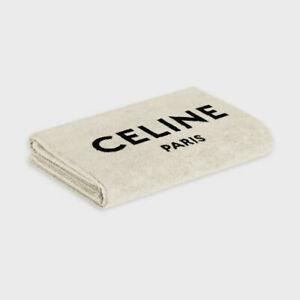 CELINE 520$ Gray Cotton Beach Towel With Celine Logo Print
