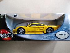 Hot Wheels 100% Saleen S7 Coupe V8 Yellow w/Black 1:18 Diecast Car Worn Box
