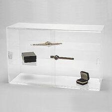 "Acrylic Display Showcase Sliding Doors w Two Shelves 21 1/4"" x 7 1/2"" x 13 1/4""H"