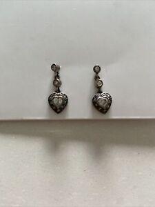 Judith Jack JJ Sterling  Earrings heart shaped