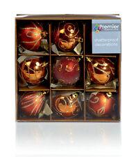 9 X Cuivre Décoré Sapin de Noël Boules Décorations Mélange Pailleté Finition