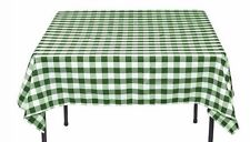 "Vinyl Gingham Flannel Back Tablecloth 52"" x 52"" Green Square ~ New"