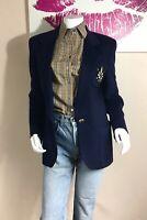 Escada Blazer Jacket / 90s Escada Cashmere Blend Navy Blue One Button-34/Small