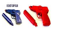 Red Blue Metal Die Cast Cap Gun Super Shots Pistol Toys For Kids Fun Activity