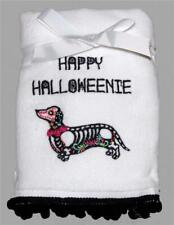 2 Pompom Halloween Happy Halloweenie Sugar Dachshund Embroidered Hand Towels Nwt