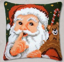 SANTA Hush Large Hole Arazzo Tela Cross Stitch Cuscino Anteriore Kit Vervaco