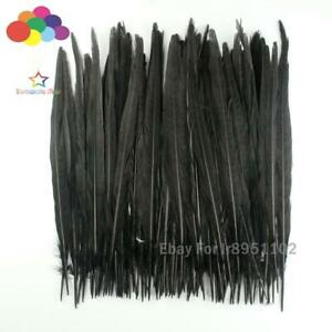 100 Pcs/Lot Female Pheasant black Feathers Tail 25-35CM /10-14inches For Crafts