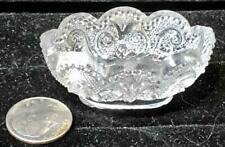 Scarce Sandwich Lacy Toy Flint Glass Oval Bowl, Scalloped Rim, c. 1835