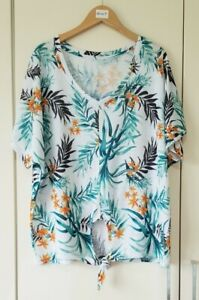 George Women's Top Size 14 Green Leaf Print Summer Casual Tie Front Short Sleeve