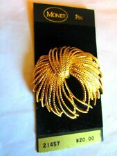Signed MONET Wheat Spray Pin Brooch Gold Toned  New on Card
