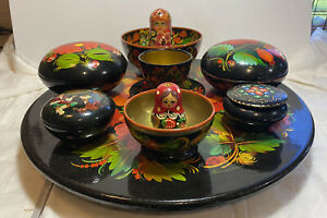 Estate Sale Russian Lacquer Box Bowl Plate Trinket lot