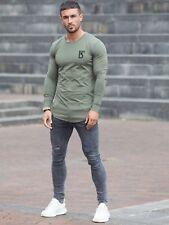 BBH Mens Gym T Shirt Longline Slim Muscle Fit Long Sleeve Plain Top Curved Hem Khaki L