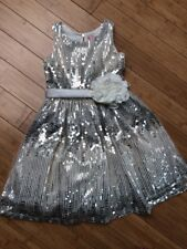 $300 NEW Girls 14 ZOE LTD Ivory Silver Gold Sequin PARTY DRESS Formal Pageant