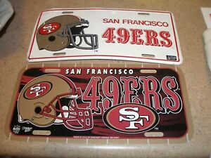 Lot of 2 San Francisco 49ers License Plates Metal Plastic