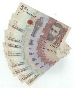 LOT, Colombia 5000 Pesos (19.8.2015) p459a x 9 PCS A-UNC
