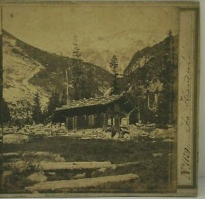 Early Antique Stereoview, A. Braun, Swiss Chalet in the Mountains, Switzerland