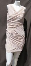 BEBE Flesh Nude Soft Stretch Mesh Tiered Fitted Bodycon Dress size S M Sexy