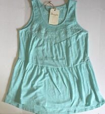 NWT Women's Wrangler Signature Tiered Lace Solid Trim Aqua Tank Top Large New