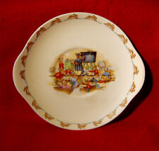 VINTAGE ROYAL DOULTON BUNNYKINS BARBARA VERNON GEOGRAPHY LESSON CAKE PLATE