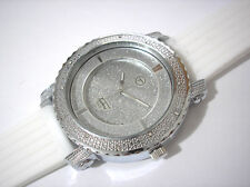 Iced Out Bling Bling Big Case Rubber Band Techno Pave Men's Watch White # 3690