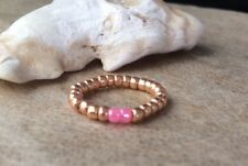 Rose Gold & Pink Seed Beaded Stretch Toe Ring, Beach Holiday, Boho