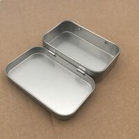 2PCS Metal Rectangular Empty Hinged Tins Storage Containers Mini Box Durable US