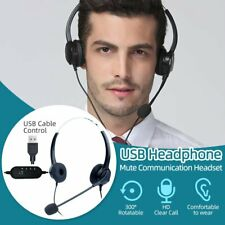 USB Headphones with Microphone Headset For Skype PC Laptop Computer Call Center