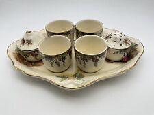 More details for vintage crown ducal - lady & gentleman - egg cup salt pepper and stand cruet set