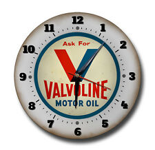 VALVOLINE MOTOR OIL 250 MM /10 INCHES DIAMETER METAL CLOCK,GARAGE,WORKSHOP, OIL