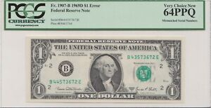 PCGS Certified 1969D $1 Bill With Mismatched Serial Numbers Error VCN 64 PPQ