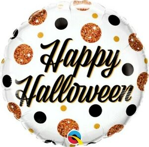 """9"""" Inch 23 cm Qualatex Balloon Round Foil Halloween Sparkly Dots Party Supplies"""