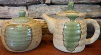 Vintage Clay Primitive Stoneware Large Creamer And Lidded Sugar Bowl Green Beige