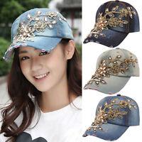 EE_ GN- Ladies Rhinestone Summer Hat Diamond Flower Baseball Cap Jeans Caps Hats