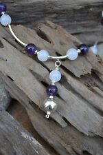Handmade necklace with Sterling Silver, White Jade & Amethyst.