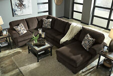 NEW Large Sectional Living Room Brown Corduroy Fabric Sofa Couch Chaise Set IG31