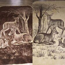 New listing Vtg San Marcos Stag Buck Deer Blanket Reversible 82x 48 Brown Tan