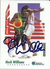 Signed 1991-92 Sky Box Herb Williams Dallas Mavericks  Basketball card #66 COA