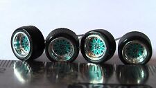 HOT WHEELS RUBBER TIRES  BBS TYPE STAR TEAL CHROME NEW REAL RIDERS ALL SMALL