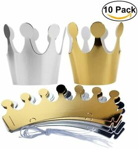 10x Silver/Gold Paper Party Crowns Prince Princess Birthday Hats Dress Up