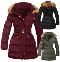 NEW Size 8 10 12 14 16 Womens PADDED PARKA COAT Ladies JACKET Fur Puffer Black