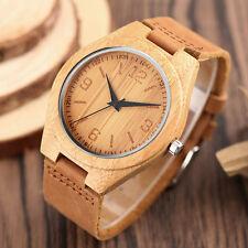 Men Genuine Leather Strap Wrist Watch Quartz Women Minimalist Bamboo Wood