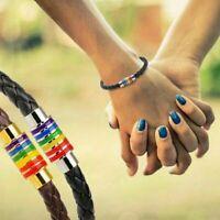 Titanium Steel Magnet Rainbow Flag LGBT Pride Charm gay PU Leather Bracelet