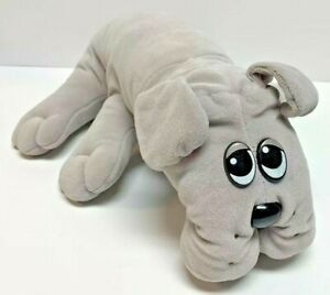 """Vintage Pound Puppies 1985 Large 18"""" Gray By Tonka Solid Bulldog"""
