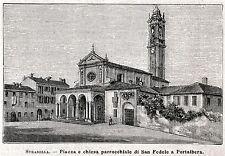 PORTALBERA: Piazza e Chiesa Parrocchiale.Oltrepò Pavese Pavia.Stampa Antica.1894